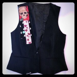 Black Pin-Striped Skull Vest-Bees-Hearts Custom!